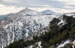 Parnitha mountain with snow, Greece Stock Images