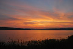 Parnoe lake in Siberia. Summer sunset in Siberia, Parnoe lake royalty free stock images