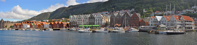 Parnoramic View to bergen harbor, norway Stock Image