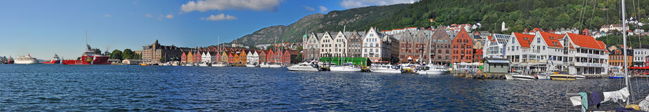Parnoramic View to bergen harbor, norway Royalty Free Stock Photos