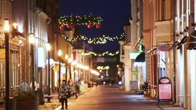 Parnu, Estonia. Night View Of Famous Ruutli Street With Old Buildings, Restaurants, Cafe, Hotels And Shops In Festive stock video