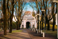 Parnu, Estonia. View Of Tallinn Gate Is Historical Fortification. Of Parnu And Only Surviving 17th Century Gate With Embankment In Baltic Countries. Sunny royalty free stock photo