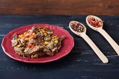 Parny gorący mięso z warzywami Fotografia Stock