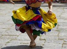 Paro的Tsechu舞蹈家 库存照片