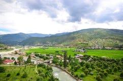 Paro谷的壮观的风景 免版税库存照片