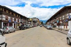 Paro,不丹- 2016年9月17日:在Paro市街道的日常生活,不丹 库存图片