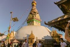 Paro, Бутан - 18-ое сентября 2016: Глаза Будды показали на буддийском stupa в Paro, Бутане Стоковое фото RF