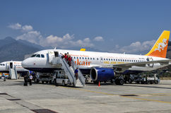 Paro Airport, Bhutan. The only international airport of Bhutan is Paro Airport which considered one of the world's most challenging airports Stock Photos