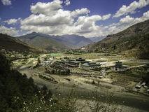 Paro Airport - Bhutan. Panorama of Paro Airport, Bhutan. Paro Airport is the only international airport of Bhutan. The airport is located 6 km (3.7 mi) from Paro Royalty Free Stock Images
