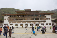 Paro airport. The international airport building of Paro, Bhutan is buildt in the traditional bhutanese stile Royalty Free Stock Photos