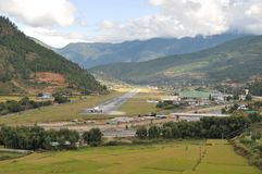 Paro Airport from the road stock images