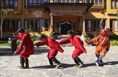 PARO, BHUTAN - November10, 2012 : Unidentified young dancers in Stock Image