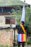 Paro, Bhutan - 18. September 2016: Bogenschütze von Bhutan an einem Bogenschießenwettbewerb, der nationale Sport von Bhutan Lizenzfreie Stockfotos