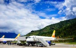 Paro flygplats i Thimphu, Bhutan Arkivbilder
