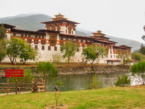 The paro fort or dzong in Bhutan. Is one of the most famous fortified monastaries Stock Photo