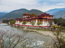 The paro fort or dzong in Bhutan. Is one of the most famous fortified monastaries Royalty Free Stock Photography