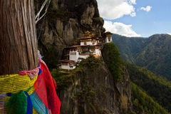 Paro's Taktsang 'Tigers Nest' Monastery with prayer flags, Paro, Bhutan Royalty Free Stock Image
