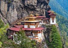 Paro Taktsang : Le monastère de nid du ` s de tigre - Bhutan photo libre de droits