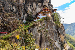 Paro Taktsang. Monastery is the most famous of Bhutan Monasteries located in the cliffside of Paro valley in Bhutan Royalty Free Stock Photography