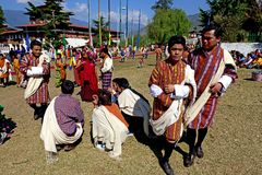 Paro Tsechu Festival. People gathering for the Paro Tsechu religious festival near the Paro Dzong in the Bhutan Stock Photos