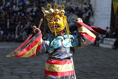 Paro Tsechu in The Kingdom of Bhutan. Dancer at the Paro Tsechu (religious festival) in The Kingdom of Bhutan in the Land of the Thunder Dragon high in the stock images
