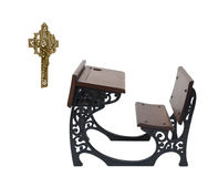 Parochial School Desk and Crucifix Stock Image