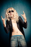 Parodia di metalli pesanti del rock star Immagine Stock