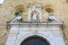 Paroisse de fa?ade de Santiago Apostle Church, Montilla, Espagne images stock