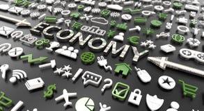 """parola """"di economia """"con le icone 3d illustrazione vettoriale"""