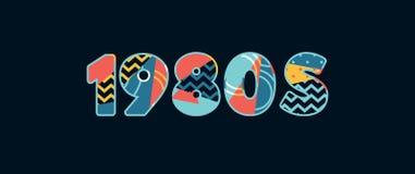 parola Art Illustration di concetto degli anni 80 illustrazione vettoriale