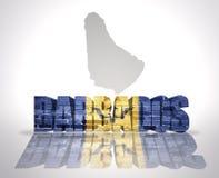 Parola Barbados su un fondo della mappa Fotografia Stock