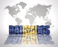 Parola Barbados su un fondo della mappa di mondo Immagine Stock
