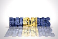 Parola Barbados sui precedenti bianchi Fotografia Stock