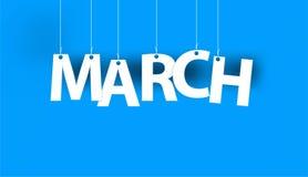 Parola bianca MARZO - esprima l'attaccatura sulle corde su fondo blu illustrazione vettoriale