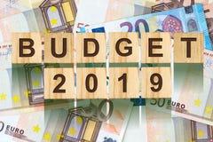 Parola, bilancio 2019 composto di lettere sulle particelle elementari di legno contro lo sfondo di euro banconote Affare di conce Immagini Stock