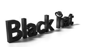 Parola black hat su bianco con pendere black hat dalla h Fotografie Stock