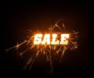 Parola blocky frizzante di vendita su fondo scuro Immagine Stock Libera da Diritti