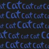 Parola blu Cat Seamless Pattern del disegno della mano Illustrazione di vettore Immagine Stock