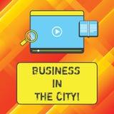 Parola che scrive affare del testo nella città Il concetto di affari per gli uffici professionali delle società urbane in città r illustrazione vettoriale