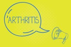Parola che scrive artrite del testo Concetto di affari per la malattia che causa infiammazione e rigidezza dolorose dei giunti illustrazione di stock