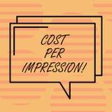 Parola che scrive costo del testo per impressione Il concetto di affari per fa riferimento il tasso che l'inserzionista ha accons illustrazione di stock