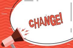 Parola che scrive il cambiamento del testo Concetto di affari per modifica di transizione di revisione di diversione di adeguamen illustrazione vettoriale