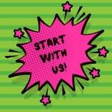Parola che scrive inizio del testo con noi Concetto di affari per Get started sul nostro invito della società ad unire un lavoro  illustrazione vettoriale