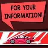 Parola che scrive For Your Information del testo Il concetto di affari per informazione è diviso e che nessun'automobile necessar illustrazione di stock