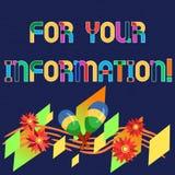 Parola che scrive For Your Information del testo Il concetto di affari per informazione è diviso e che nessun'azione diretta ha a illustrazione vettoriale