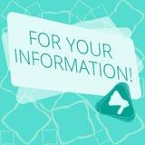 Parola che scrive For Your Information del testo Il concetto di affari per informazione è diviso e che nessun megafono necessario illustrazione di stock