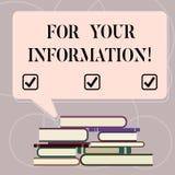 Parola che scrive For Your Information del testo Il concetto di affari per informazione è diviso e che nessun mucchio irregolare  royalty illustrazione gratis
