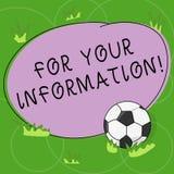 Parola che scrive For Your Information del testo Il concetto di affari per informazione è diviso e che nessun pallone da calcio n illustrazione vettoriale