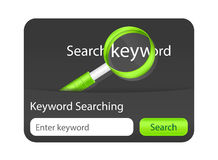 Parola chiave che cerca l'elemento del sito Web con l'ingrandimento Immagini Stock Libere da Diritti