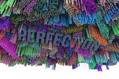 Parola chiave di perfezione Rappresentazione variopinta 3d COM astratta di forma illustrazione vettoriale